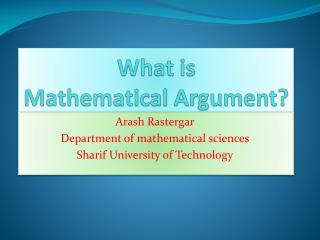 What is  Mathematical Argument?