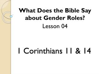 1  Corinthians 11 & 14