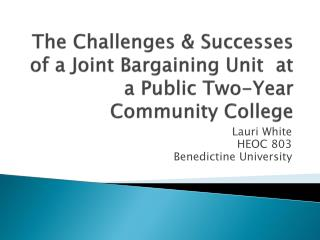 The  Challenges & Successes of a Joint Bargaining Unit  at a  Public Two-Year Community College