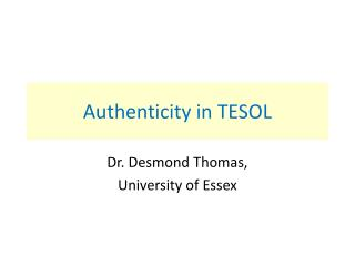 Authenticity in TESOL