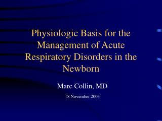 Physiologic Basis for the Management of Acute Respiratory ...