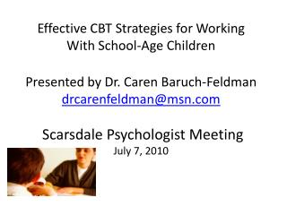 Effective CBT Strategies for Working With School-Age Children