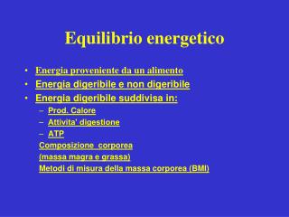 Equilibrio  energetic o