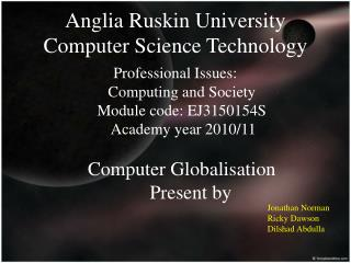Anglia Ruskin University Computer Science Technology