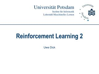 Reinforcement Learning 2