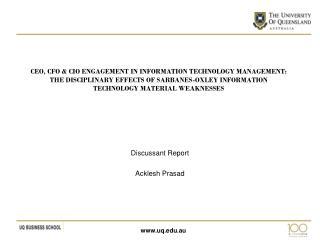 Discussant Report Acklesh Prasad
