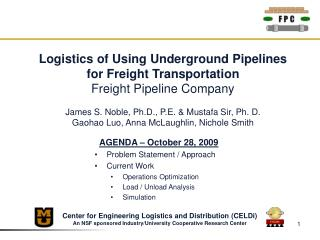 Logistics of Using Underground Pipelines for Freight Transportation Freight Pipeline Company