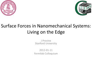 Surface Forces in  Nanomechanical  Systems:  Living on the Edge