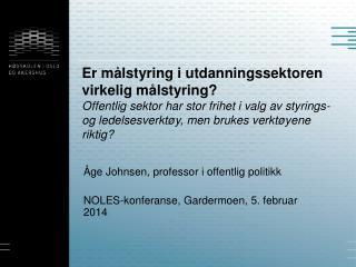 Åge Johnsen, professor i offentlig politikk NOLES- konferanse, Gardermoen,  5. februar 2014