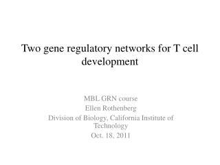 Two gene regulatory networks for T cell development