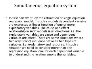 Simultaneous equation system