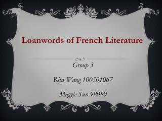 Loanwords of French Literature