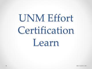 UNM Effort Certification  Learn