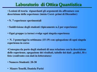 Laboratorio di Ottica Quantistica