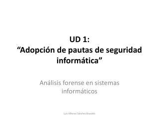 """UD 1:  """"Adopción de pautas de seguridad informática"""""""