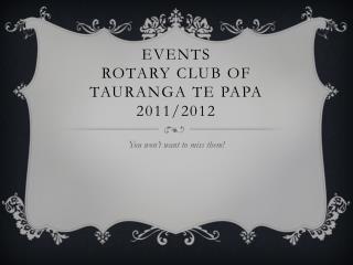 Events rotary club of  tauranga te  papa 2011/2012