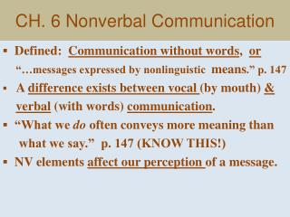 CH. 6 Nonverbal Communication
