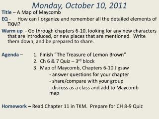 Monday, October  10,  2011
