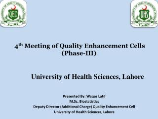 4 th  Meeting of Quality Enhancement Cells (Phase-III)