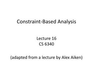 Constraint-Based Analysis