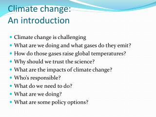 Climate change: An introduction