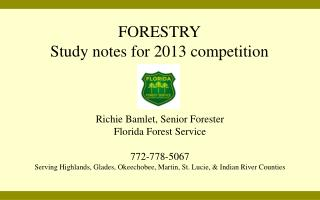 FORESTRY Study notes for 2013 competition