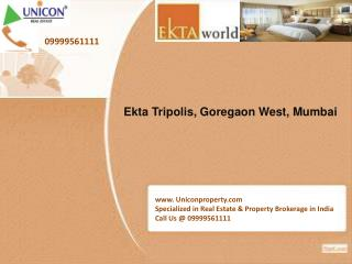 Ekta Tripolis Mumbai | Call 09999561111 for booking apartment in Tripolis