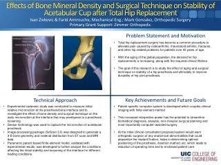 Ivan  Zivkovic  &  Farid Amirouche , Mechanical Eng.; Mark Gonzalez, Orthopedic Surgery