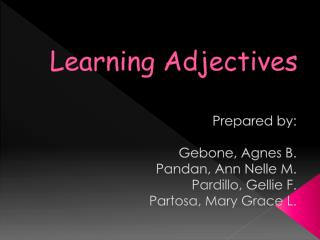Learning Adjectives