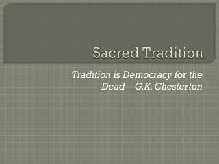 Sacred Tradition