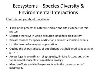 Ecosystems – Species Diversity & Environmental Interactions