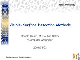 Visible-Surface Detection Methods