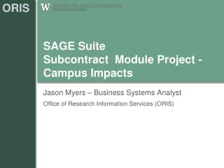 SAGE Suite  Subcontract  Module Project -  Campus Impacts
