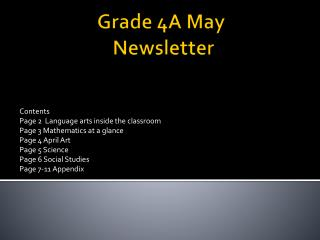 Grade 4A May  Newsletter