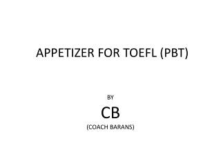 APPETIZER FOR TOEFL (PBT)
