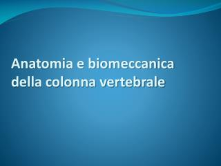 Anatomia e biomeccanica  della colonna vertebrale