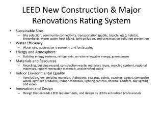 LEED New Construction & Major Renovations Rating System