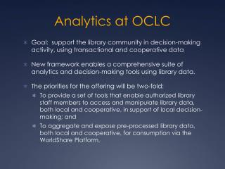 Analytics at OCLC
