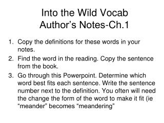 Into the Wild Vocab  Author�s Notes-Ch.1