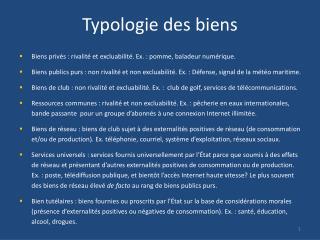 Typologie des biens