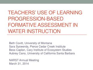Teachers' Use of Learning Progression-Based Formative Assessment in Water Instruction