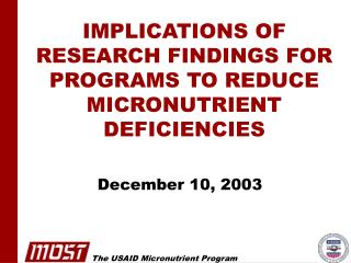 IMPLICATIONS OF RESEARCH FINDINGS FOR PROGRAMS TO REDUCE ...