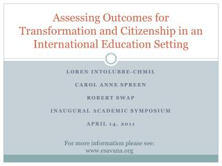 Assessing Outcomes for Transformation  and Citizenship in an International Education Setting