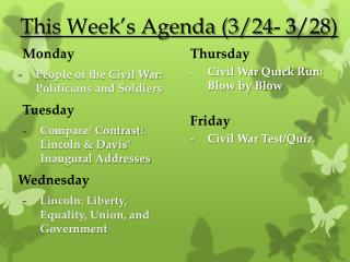 This Week's Agenda (3/24- 3/28)