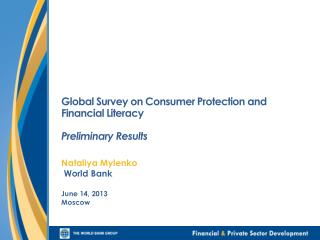 Global Survey on Consumer Protection and Financial Literacy Preliminary Results