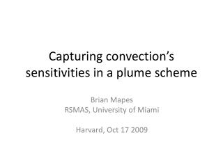 Capturing convection�s sensitivities in a plume scheme