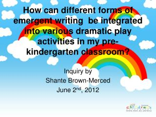 Inquiry by Shante  Brown-Merced June 2 nd , 2012