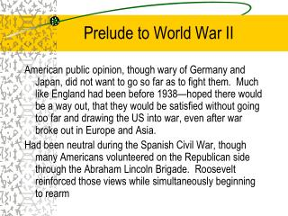 Prelude to World War II