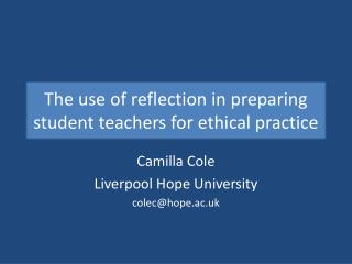 The use of reflection in preparing student teachers for ethical practice