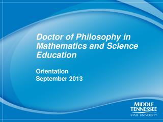 Doctor of Philosophy in Mathematics and Science Education